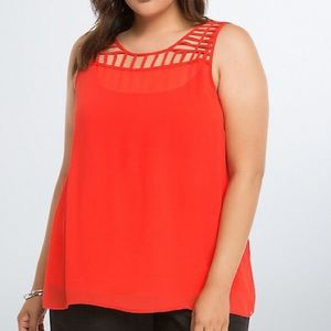 NWT! TORRID red caged top, 2X.